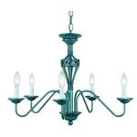 "Crown Collection 23"" 5-Light Antique Verde Chandelier LS-1058A/VERD"