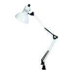 "Swing-Arm Collection 1-Light 35"" White Metal Clamp On Lamp with White Shade LS-105WHT"