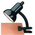 "Gooseneck Clip-On-Lite Collection 1-Light 12"" Black Metal Clip-On Lamp with Black Gooseneck LS-111 BLK"