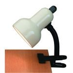"Gooseneck Clip-On-Lite Collection 1-Light 12"" Ivory Metal Clip-On Lamp with Ivory Gooseneck LS-111 IVY"