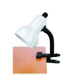 "Gooseneck Clip-On-Lite Collection 1-Light 12"" White Metal Clip-On Lamp with White Gooseneck LS-111 WHT"