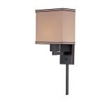 "Harvard Collection 1-Light 14"" Dark Bronze Wall Sconce with Fabric Shade LS-16919"
