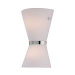 "Avalon Collection 2-Light 13"" Polished Steel Wall Sconce with Frosted Glass Shade LS-16986PS/FRO"