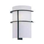 "Dion Collection 1-Light 11"" Black Wall Sconce with Frost Glass Shade LS-16992"