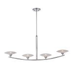 "Calandra Collection 4-Light 46"" Chrome Island Light with Frosted Glass Shades LS-19564"