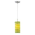 "Pacifica Collection 1-Light 4"" Polished Steel Pendant with Green Glass Shade LS-19991GRN"