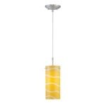 "Pacifica Collection 1-Light 86"" Polished Steel Pendant with Yellow Glass Shade LS-19991YLW"