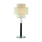 "Olina Collection 1-Light 31"" Leather Wrapped Table Lamp with Grid Pattern Shade LS-20290"