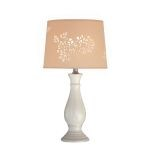 "Morris Collection 1-Light 22"" Ivory Ceramic Table Lamp with Laser Cut Shade LS-21488IVY"