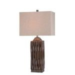 "Ashby Collection 1-Light 29"" Brushed Dark Walnut Table Lamp with Linen Fabric Shade LS-21619"