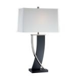 Estella Collection 1-Light 31 inch Espresso Wood & Polished Steel Table Lamp with Off-White Fabric Shade