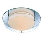 "Belmont Collection 2-Light 10"" Flush Mount with Mirror/ Glass Shade LS-5589"
