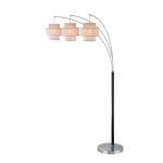"Olina 3-Light 79"" Leather Wrapped Arch Floor Lamp with a Grid Pattern Shades LS-80293"