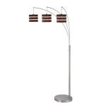 "Matia Collection 3-Light 84"" Polished Steel Arch Lamp with Wood Finished Paper Shades LS-80708"