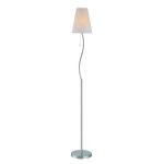 "Golvend Collection 1-Light 63"" Polished Steel Floor Lamp with Off-White Wave Stripped Paper Shade LS-81685"