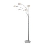 "Ilario Ii Collection 80"" Chrome And Marble Floor Lamp with Frosted Glass LS-82053C"