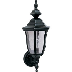 "Madrona Collection 1-Light 18"" Black Outdoor Wall Light with Seedy Glass 1012BK"