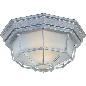 "Crown Hill Collection 2-Light 11"" Pewter Outdoor Ceiling Light with Frosted Glass 1020PE"