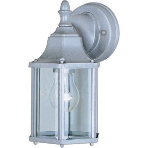 "Builder Cast Collection 1-Light 10"" Pewter Outdoor Wall Light with Clear Glass 1026PE"