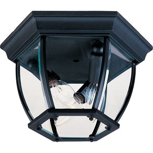"Maxim Lighting 3-Light 11"" Black Outdoor Ceiling Light with Clear Glass 1029BK"