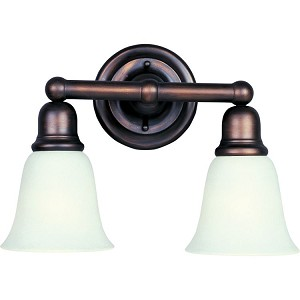"Bel Air Collection 2-Light 15"" Oil Rubbed Bronze Vanity with Soft Vanilla Glass 11087SVOI"