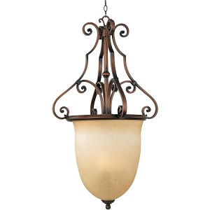"La Scalla Collection 3-Light 39"" Weathered Copper Foyer Pendant with Mocha Cloud Glass 11766MCWC"
