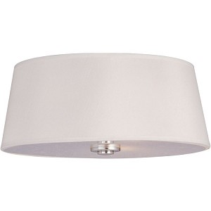"Rondo Collection 3-Light 15"" Polished Nickel Flush Mount with White Fabric Shade 12751WTPN"