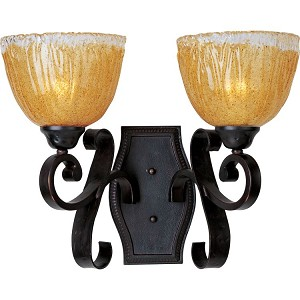 "Barcelona Collection 2-Light 16"" Oil Rubbed Bronze Wall Sconce with Amber Ice Glass 13422AIOI"