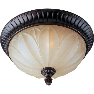 "Allentown Collection 2-Light 15"" Oil Rubbed Bronze Flush Mount with Wilshire Glass 13500WSOI"