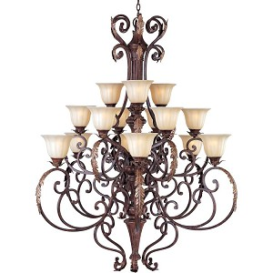"Augusta Collection 15-Light 57"" Auburn Florentine Chandelier with Cafe Glass 13567CFAF"