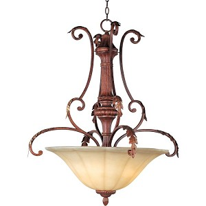 "Augusta Collection 3-Light 37"" Auburn Florentine Pendant with Cafe Glass 13583CFAF"
