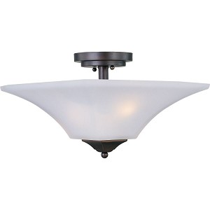 "Aurora Collection 2-Light 13"" Oil Rubbed Bronze Semi-Flush Mount with Frosted Glass 20091FTOI"