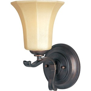 "Chelsea Collection 1-Light 6"" Weathered Russet Wall Sconce with Wilshire Glass 20888WSWR"