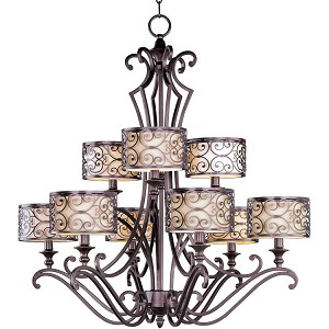 "Mondrian Collection 9-Light 36"" Umber Bronze Chandelier 21156WHUB"