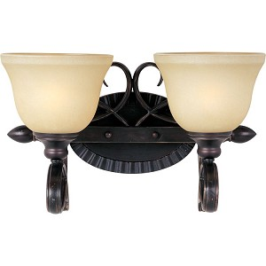 "Infinity Collection 2-Light 15"" Oil Rubbed Bronze Vanity with Wilshire Glass 21312WSOI"