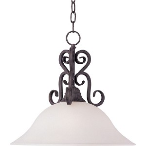 "Canyon Rim Collection 1-Light 15"" Canyon Rock Pendant with Soft Vanilla Glass 27511SVCR"