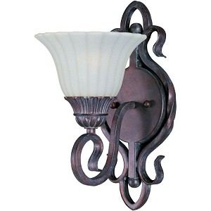 "Via Roma Collection 1-Light 7"" Greek Bronze Wall Sconce with Soft Vanilla Glass 2786SVGB"