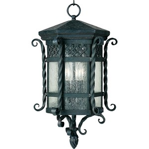 "Scottsdale Collection 3-Light 11"" Country Forge Outdoor Hanging Light with Seedy Glass 30128CDCF"