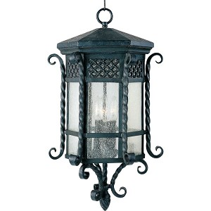 "Scottsdale Collection 3-Light 12"" Country Forge Outdoor Hanging Light with Seedy Glass 30129CDCF"