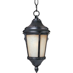 "Odessa Collection 1-Light 9"" Espresso Outdoor Hanging Light with Latte Glass 3018LTES"