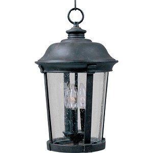"Dover DC Collection 3-Light 12"" Bronze Outdoor Hanging Light with Seedy Glass 3029CDBZ"