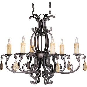 "Richmond Collection 6-Light 32"" Colonial Umber Mini Chandelier 31009CU/CRY094"