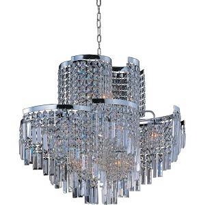 "Belvedere Collection 19-Light 27"" Polished Chrome Pendant with Beveled Crystal 39806BCPC"