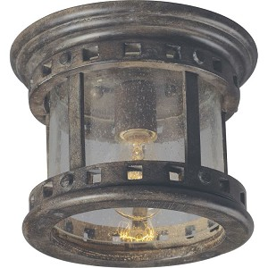 "Santa Barbara Collection 1-Light 9"" Sienna Outdoor Ceiling Light with Seedy Glass 40030CDSE"