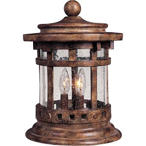 "Santa Barbara Collection 3-Light 12"" Sienna Outdoor Deck Lantern with Seedy Glass 40031CDSE"