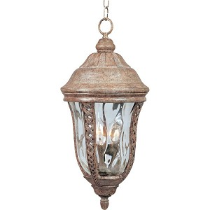 "Whittier Collection 3-Light 10"" Earth Tone Outdoor Hanging Light with Water Glass 40210WGET"