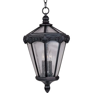 "Essex Collection 3-Light 12"" Oriental Bronze Outdoor Hanging Light with Seedy Glass 40261CDOB"