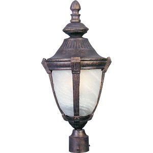 "Wakefield Collection 1-Light 27"" Empire Bronze Outdoor Pier/Post Mount with Marble Glass 4031MREB"
