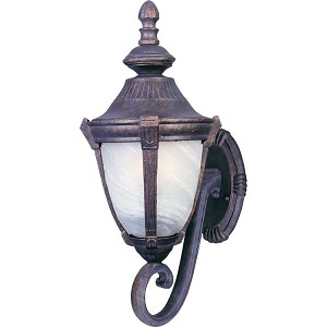 "Wakefield Collection 1-Light 8"" Empire Bronze Outdoor Wall Light with Marble Glass 4032MREB"