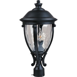"Camden Collection 3-Light 23"" Black Outdoor Pier/Post Mount with Water Glass 41421WGBK"